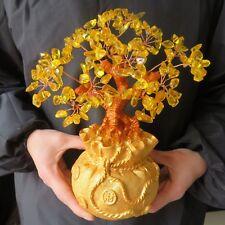 Lucky Tree!Crystal Citrine Quartz Gemstone Bonsai Lucky Tree reiki 1PCS