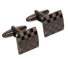 Mens Modern Black Square Tile Formal Fun Elegant Cuff Wedding Groom Cufflinks