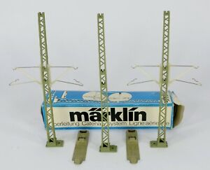 MARKLIN HO CATENARY PARTS 3x 7021 STANCHIONS 4x 7015 LINKS 2x BASES ALL MINT
