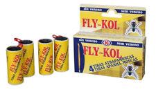 4 Tiras atrapamoscas sin veneno uso doméstico FLY-KOL. Pegamento para moscas