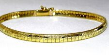 "New 14K Yellow Gold 7"" Italian Omega Bracelet 8.6 Grams 5mm Safety Clasp Italy"