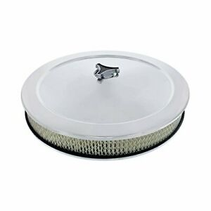 United Pacific S1108 14-in Chrome Round Air Cleaner Assembly