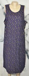 FADS Navy Blue Multicolor Floral Pinwale Corduroy Sleeveless Dress Jumper 14P
