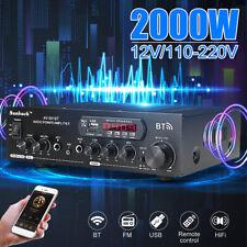 Sunbuck 2000W 2Ch bluetooth Power Amplifier Stereo Home AMP AUX FM SD USB USA