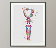 Dental Implant Art Watercolor Print Tooth Anatomical Dental Clinic Office-563