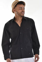 Mens Bohio Cotton Black Cuban Guayabera Classic 4-Pkt  Shirt (S ~2X)- MTCG1511