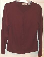Womens CURRANTS~BURGUNDY CARDIGAN SWEATER~size MEDIUM~NEW Red~Stretch KNIT