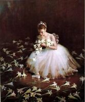 CHOP305 100% hand-painted Figure ballet girl flower art oil painting on canvas