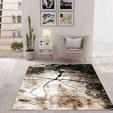 Moderner Teppich Braun Beige mit Baumstumpf Holz Optik
