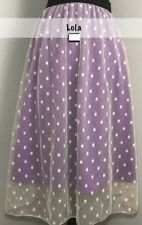 2X-LARGE LuLaRoe LOLA SKIRT cream purple lavender polkadot dots tulle NWT XXL