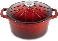 VonShef 4.7L 5Qt 24cm Cast Iron Casserole Dish Red Ovenproof Pot & Lid 9000087