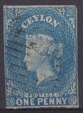 DB196) Ceylon 1857 1d Blue on blued paper, imperf. SG2b