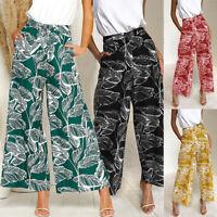 Women Boho Leaves Print Wide Leg Pants Summer Elastic High Waist Casual Trousers