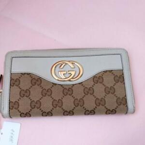 GUCCI Suky GG canvas interlocking G round zipper wallet canvas leather Beige