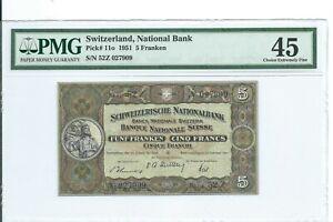 5 francs 1951 Switzerland PMG EF-45 Det Pick 11o Suisse Schweizerisch franken p
