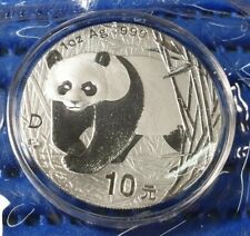 2001 D China 10 Yuan Panda 1 oz 999 Fine Silver Coin with Capsule