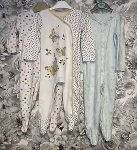 Girls Age 9-12 Months - Set Of Three Sleepsuits