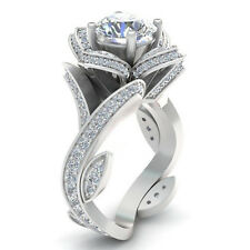 Size10 Women Charm Silver Plated Flower Couple Rings Wedding Engagement Ring
