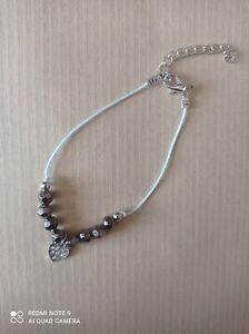 Bracelet Femme Fille Coeur Et Perles Bijoux Fantaisie Cadeau Argenté Strass Neuf
