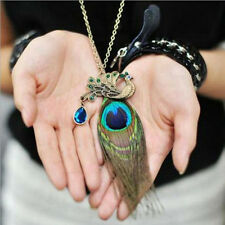 Charm Crystal Rhinestone Peacock Feather Pendant Long Chain Sweater Necklace