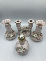 Vintage WALES Japan Pink/Gold Ceramic Candle Holder/Vases/Perfume Bottle Roses