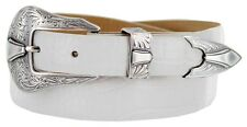Colorado Silver - Genuine Leather Italian Calfskin Designer Dress Belt