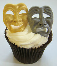 SILICONE MOULD THEATER COMEDY TRAGEDY MASKS CUPCAKE FIMO ICING CLAY CARD TOPPER