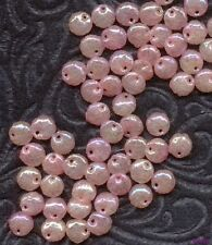 25 FRENCH VINTAGE SEQUINS Hollow lt Pink Iris PUFFY Dangle Beads Drops 8mm lot