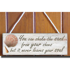 Sand & Soul Wooden Beach Plaque / Sign (Shells)