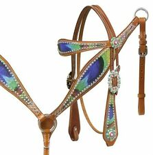 Showman Leather Bridle & Breast Collar w/ PEACOCK FEATHER Print! NEW HORSE TACK!