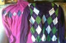 2 Large Tommy Hilfiger Sweaters Women 100% Pima Cotton Long Sleeve Pink Purple