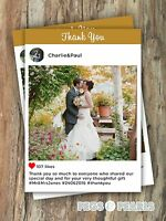 PERSONALISED PHOTO INSTAGRAM INSPIRED WEDDING THANK YOU CARDS(PACKS OF 10)