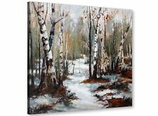 Woodland Winter Trees Forest Scene Landscape Canvas Modern 79cm Square - 1s295l