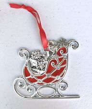 LENOX Merry & Bright Clear Silver Plated Sleigh Christmas Ornament Red Clear Gem