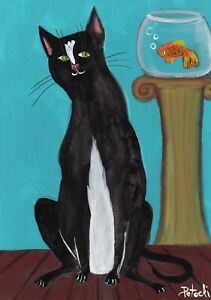 Tuxedo Black and White Cat with Goldfish original outsider art painting