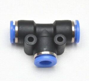 Tee Push to Connect 1/4 OD 3 Side Equal T Fitting Splitter Union Air