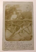 Antique Real Photo Postcard Young German couple posted 1905
