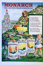 Original 1949 Print Ad MONARCH Vegetables Orance Juice Girl Felix Palm