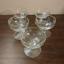 Vintage Etched Cocktail Sherbert Dessert Glasses - Set of 5