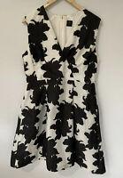 DAVID LAWRENCE Black & White Textured A Line Fit & Flare Pocket Dress Size 16