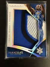 SERGE IBAKA 2014-15 IMMACULATE CHRISTMAS DAY 3 COLOR GAME USED PATCH CARD SP /20