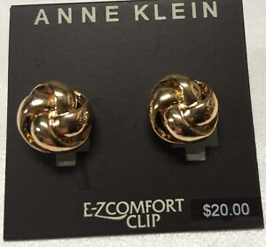 """Anne Klein Classy Knot Comfort Clip On Gold Plated Earrings 5/8"""" New AN259"""