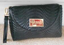 VERSACE Parfums Black Faux Leather Clutch Purse Hand Bag Detachable Strap - NEW