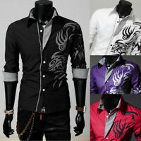 Luxury Hot Men Slim Fit Shirts Long Sleeve Dress Shirt Casual T-Shirt Formal