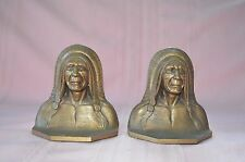 ANTIQUE PAIR OF  SOLID BRONZE LIFELIKE INDIAN CHIEF BOOKENDS EXCELLENT CONDITION
