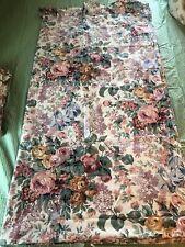 Vintage Ralph Lauren Allison White Multi Floral Ruffled King Flat Sheet Usa Euc