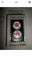 10 Engelbreit Rose Check Ceramic Drawer Pulls Cabinet Knobs & Mackenzie Childs