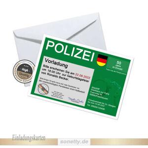 20 Einladungskarten zum Geburtstag 🚓 Polizei 18 20 30 🔫 40 50 60 70 Party #02