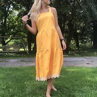 J Crew Womens 14 Embroidered Scalloped Tiered Dress Saffron Sun Midi Cotton
