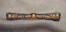 Antique Krementz 14K Yellow Gold Beauty Pin Brooch w/ Blue Enamel & Seed Pearls